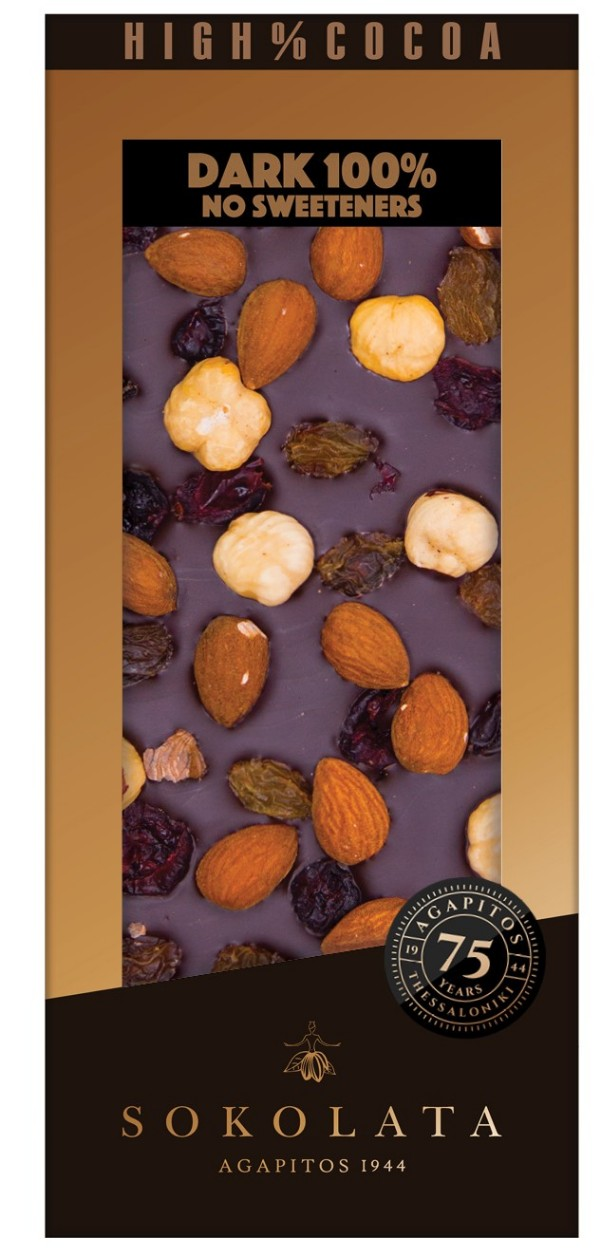 100% Dark Chocolate  Nut& Fruit 100gr